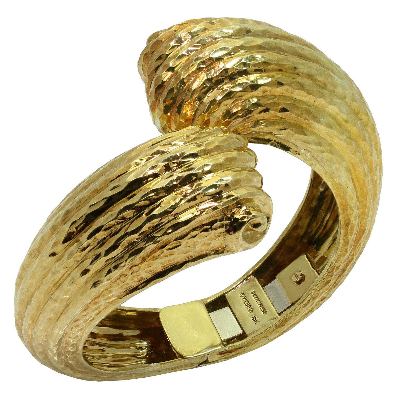 David Webb Yellow Gold Crossover Bracelet Cuff Bracelet