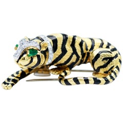 David Webb Yellow Gold Crouching Tiger Brooch