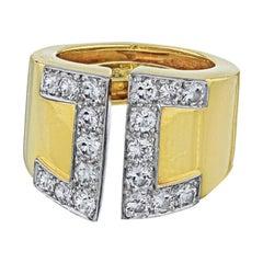 David Webb Yellow Gold Diamond Gap Ring