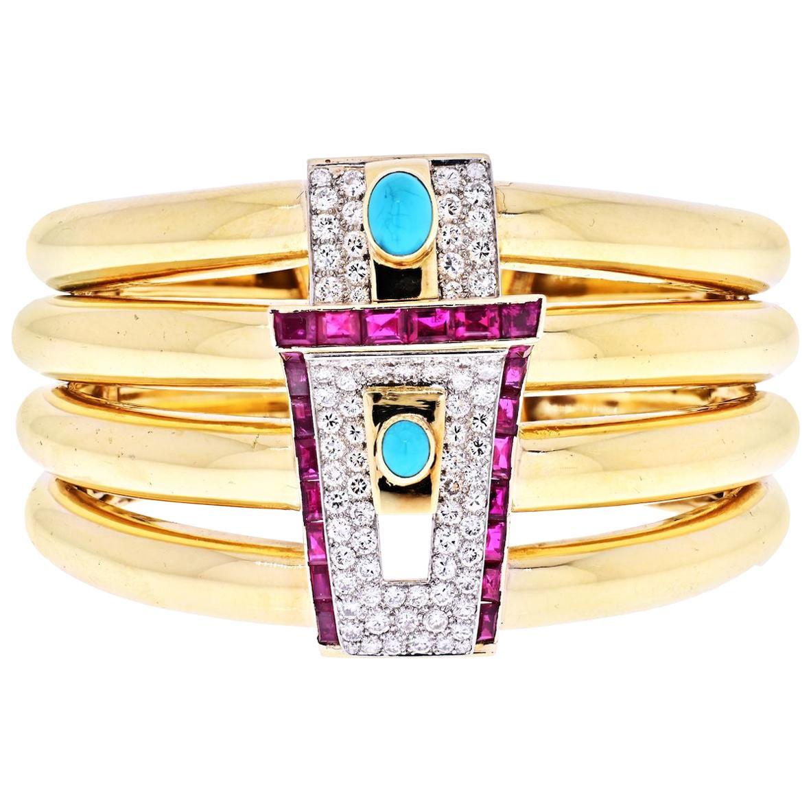 David Webb Yellow Gold Diamond, Ruby and Turquoise Cuff Bracelet