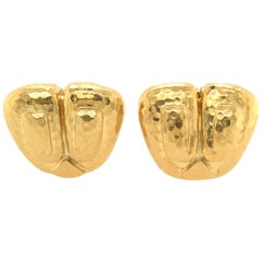David Webb Yellow Gold Earrings