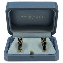 David Webb Yellow Gold Enamel and Gem Set Horse Head CuffLinks