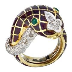 David Webb Yellow Gold Enamel Emerald Eyes Diamond Ring