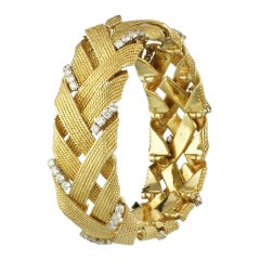 David Webb 18K Yellow Gold 3.00 Carat Diamond Woven Estate Bracelet