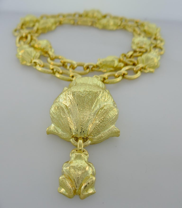 David Webb Yellow Gold Frog Chain Necklace, 1980s 1
