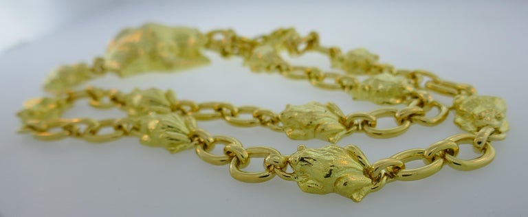David Webb Yellow Gold Frog Chain Necklace, 1980s 2