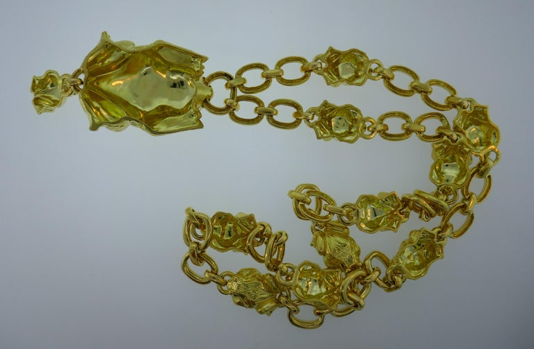 David Webb Yellow Gold Frog Chain Necklace, 1980s 3