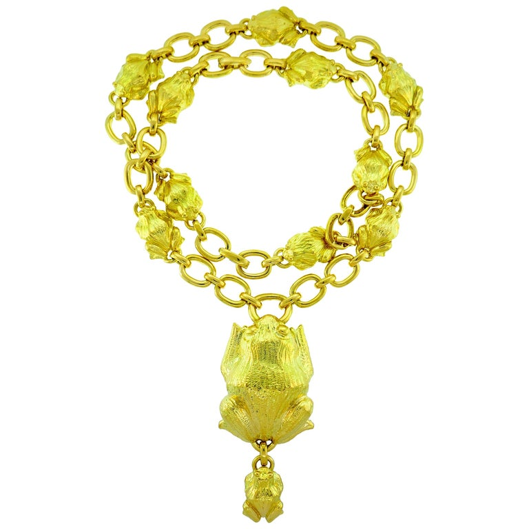 David Webb Yellow Gold Frog Chain Necklace, 1980s