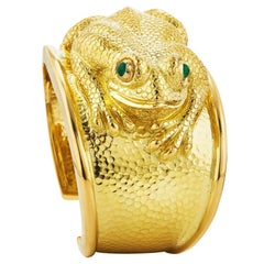 David Webb Yellow Gold Frog Cuff Bracelet