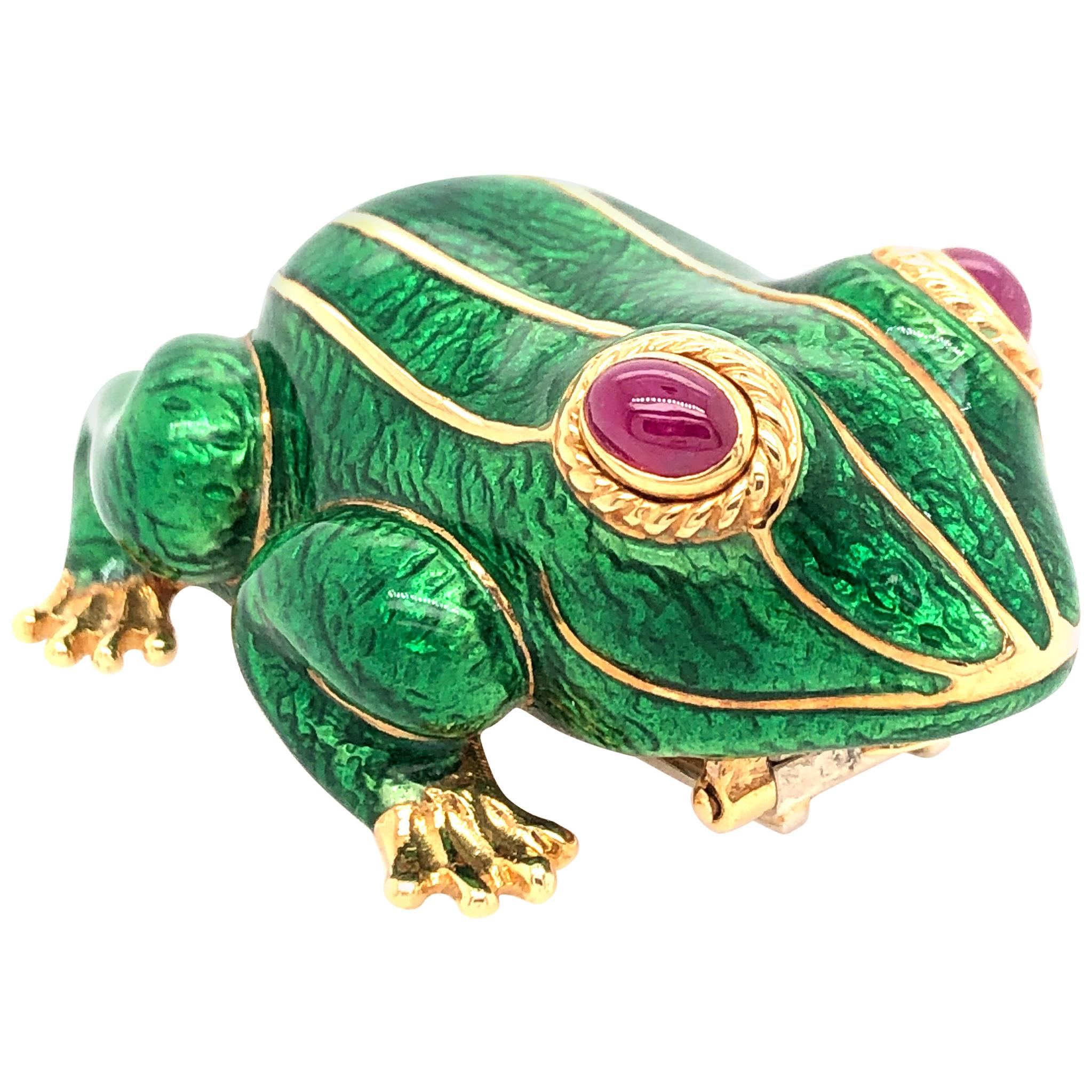 David Webb Yellow Gold Green Enamel Frog Pin