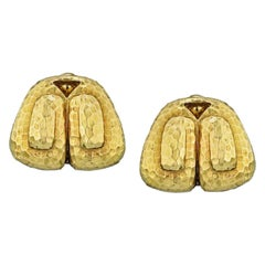 David Webb Yellow Gold Hammered Finish Clip-On Earrings