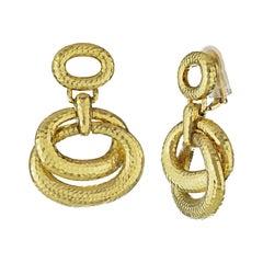 David Webb Yellow Gold Hammered Hanging Drop Door Knockers Earrings