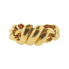 David Webb Yellow Gold Hammered Link Bracelet