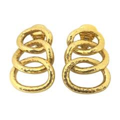 David Webb Yellow Gold Hammered Triple Hoop Earrings