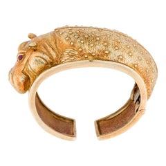 David Webb Yellow Gold Hippo Cuff Bangle Bracelet