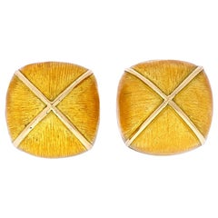 David Webb Yellow Gold Lacquered Large Clip-On Button Earrings