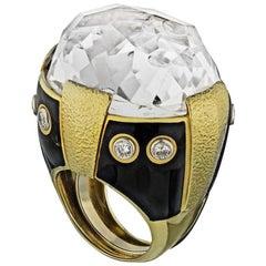 David Webb Yellow Gold Large Rock Crystal Black Enamel Hammered Ring