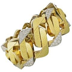David Webb Yellow Gold Large Vintage Curb Style Link Diamond Bracelet