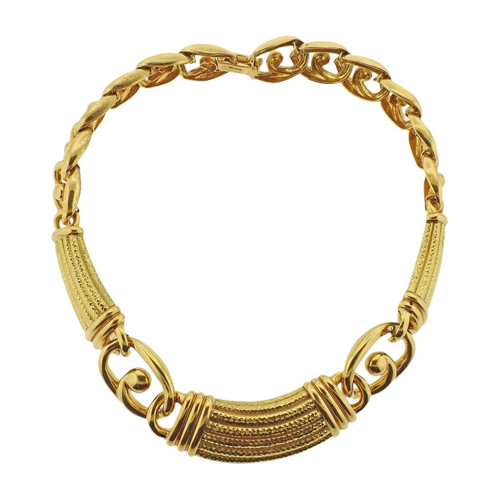 David Webb Yellow Gold Link Collar Necklace