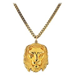 David Webb Yellow Gold Lion Medallion Pendant Necklace
