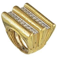 David Webb Yellow Gold Manhattan Minimalism Diamond Radiator Cocktail Ring