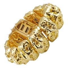 David Webb Yellow Gold Nugget Bracelet