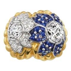 David Webb Yellow Gold Old Euro Diamond Sapphire and Platinum Ring