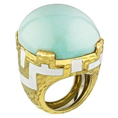 David Webb Yellow Gold Oval Turquoise Dome Hammer Finished Ring