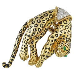 David Webb Yellow Gold Panther Pin Brooch Pendant Charm
