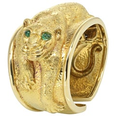 David Webb Yellow Gold Panther with Emerald Eyes Cuff Vintage Bangle Bracelet