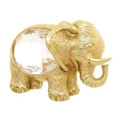 David Webb Yellow Gold Rock Crystal Elephant Brooch