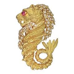David Webb Yellow Gold Ruby and Diamond Sea Lion Dragon Brooch