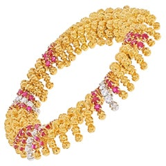 David Webb Yellow Gold Ruby and Diamond Textured, Scalloped Link Bracelet