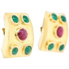 David Webb Yellow Gold Ruby and Emerald Clip-On Earring