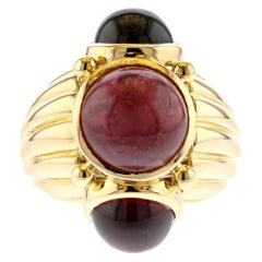 David Webb Yellow Gold Ruby Garnet Ring