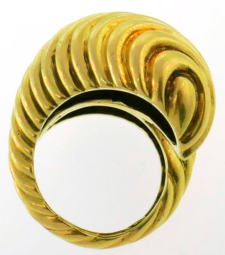 David Webb Yellow Gold Snake Ring For Sale 3