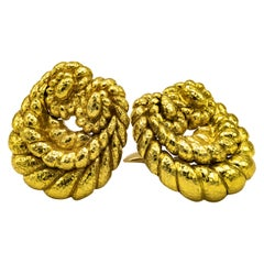 David Webb Yellow Gold Swirl Coiled Rope Clip-On Earrings