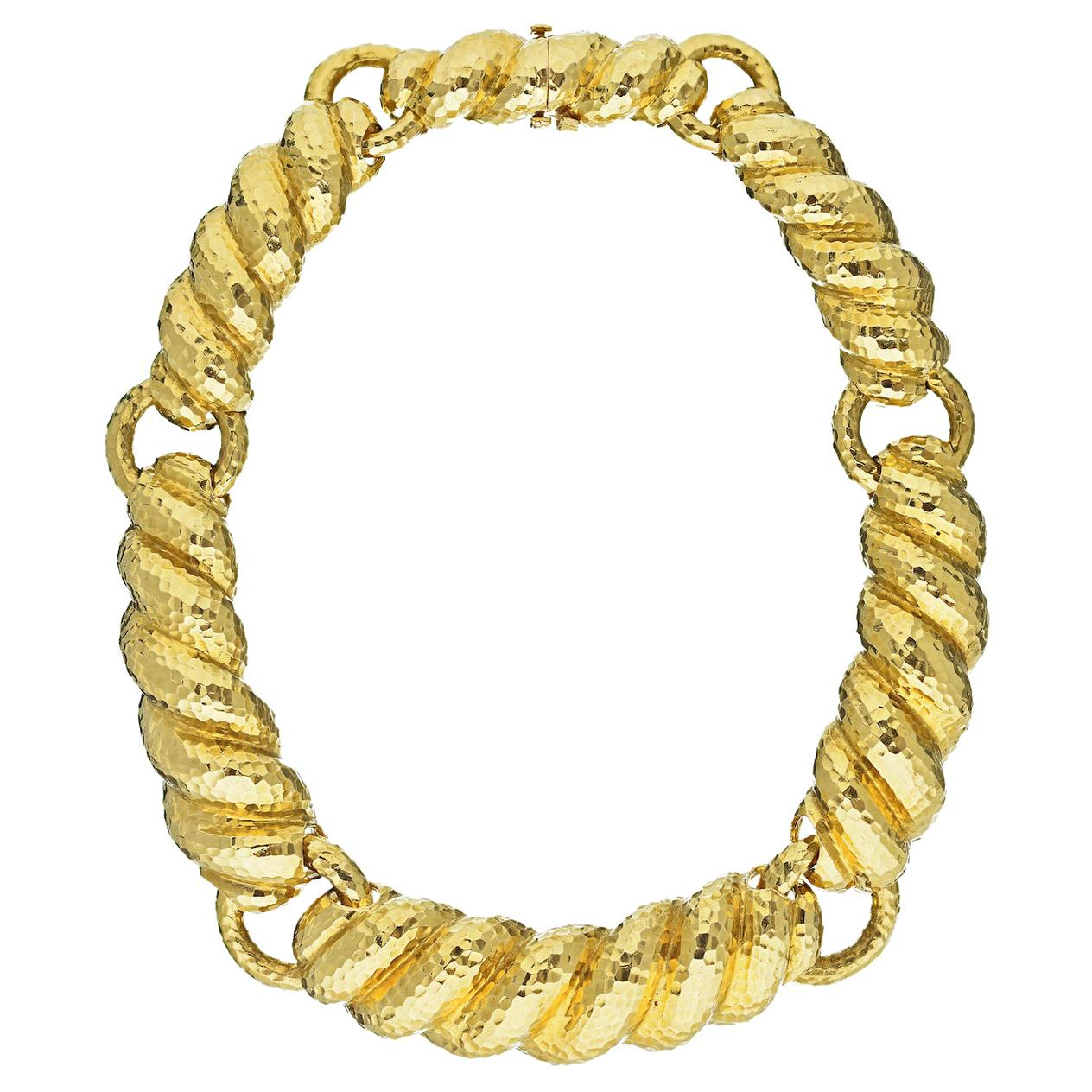 David Webb Yellow Gold Textured Hammered Collar Necklace