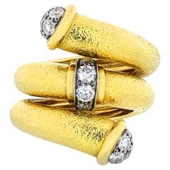 David Webb Yellow Gold Twisted Nail Diamond Ring