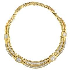David Webb Yellow Gold Vintage 15.00 Carat Diamond Collar Necklace