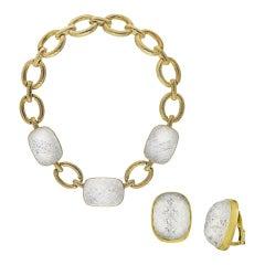 David Webb Yellow Gold Vintage 18 Karat Rock Crystal Set Earrings and Necklace