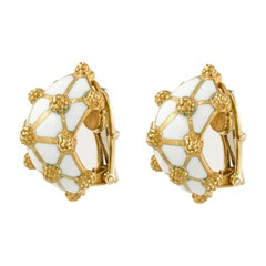 David Webb Yellow Gold White Enamel Earrings