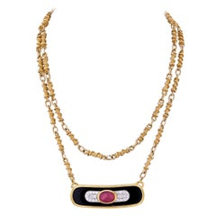 David Webb Yellow Gold Ruby, Diamond and Lacquer Pendant Necklace on Long Chain