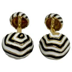 "David Webb ""Zebra"" Cufflinks in 18K Yellow Gold with Black and White Enamel"