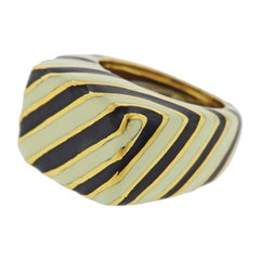 David Webb Zebra Enamel Gold Ring