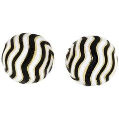 David Webb Zebra Round Cufflinks