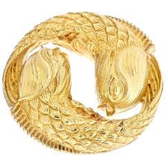 David Webb Zodiac Pisces Vintage Medallion Pendant Brooch