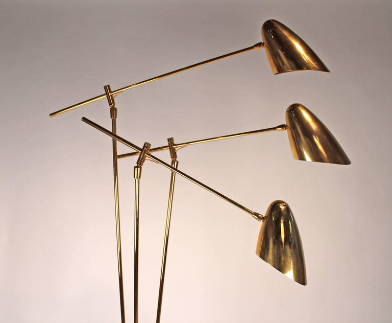 David Weeks Model '303' Articulated Brass Floor Lamp For Sale 5