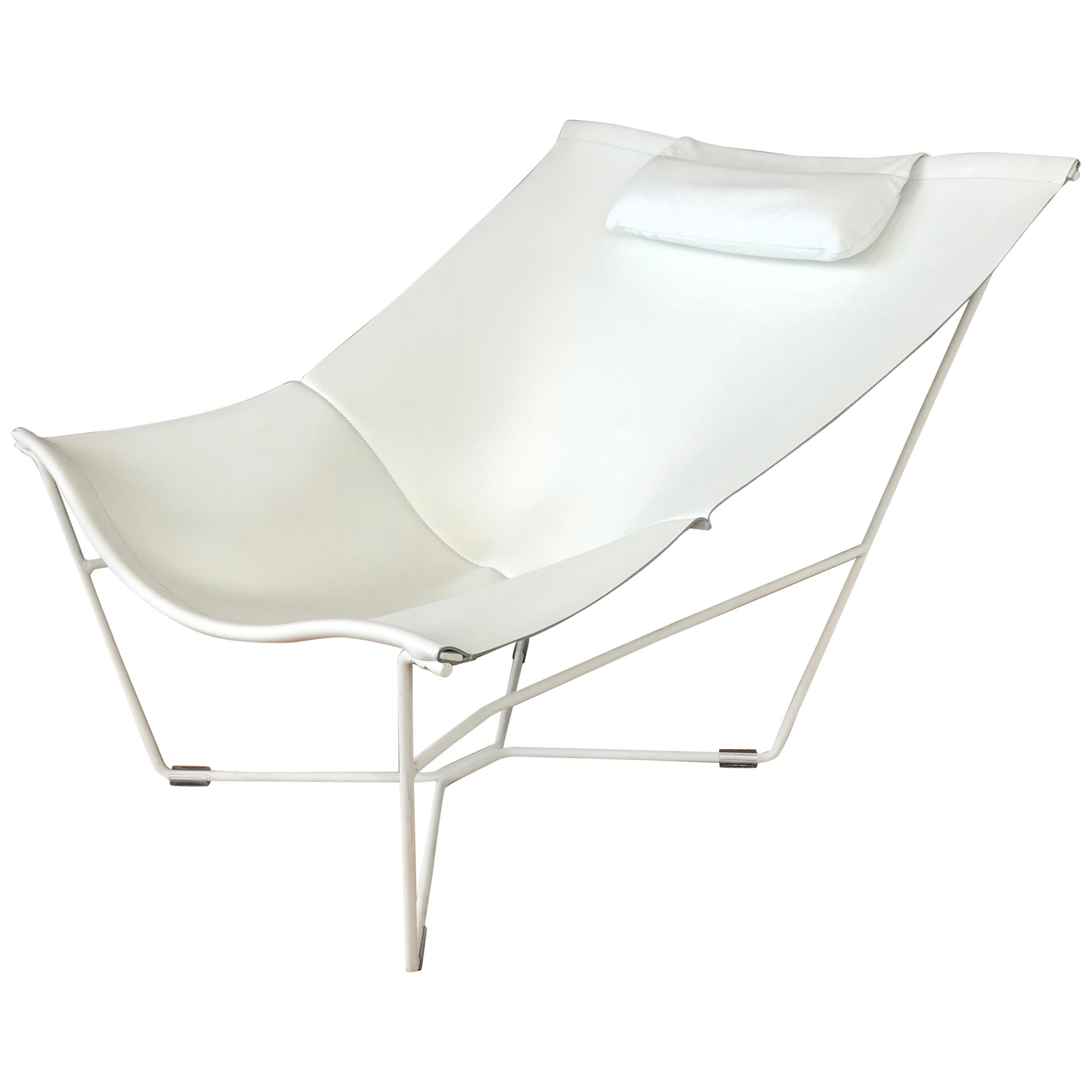David Weeks White Leather Semana Sling Chair For Habitat For