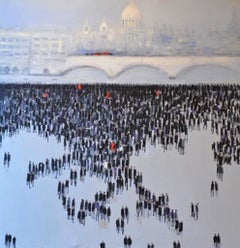 Blackfriars, The City of London, blue and black original painting with people